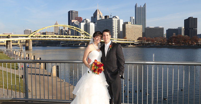 Pittsburgh wedding photography city view